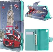 Moberg Sony Xperia Z5 Premium lær etui med stativ - London Big Busses