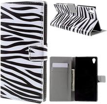 Moberg Sony Xperia Z5 Premium lær etui med stativ - Zebra Stripes