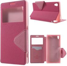 Roar Korea Sony Xperia Z5 Premium lær etui med kortholder - Varm Rosa