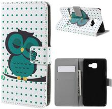 Moberg Lær etui med kortspor for Samsung Galaxy A5 SM-A510F (2016) - Green Owl Napping