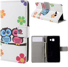 Moberg Lær etui med stativ for Samsung Galaxy A3 SM-A310F (2016) - Adorable Owls and Flowers