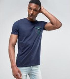 Brave Soul TALL - Rutig t-shirt med ficka som har lock - Marinblå