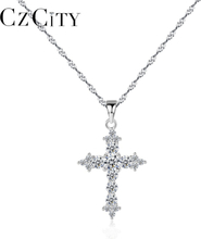 CZCITY 925 Sterling Silver AAA+ Cubic Zircon Brilliant Cross Pendant Necklace Exquisite Twisted Chain Necklace Sterling Jewelry