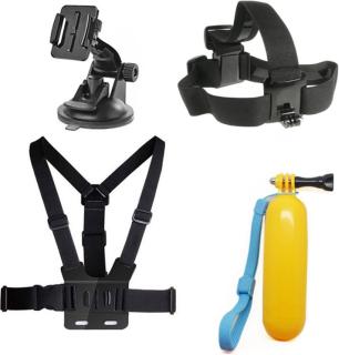 4 i 1 Tilbehørssett med brystbelte og flytende håndtak for Actionkamera