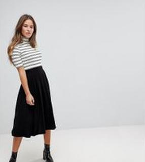 ASOS DESIGN Petite midi skirt with box pleats - Black