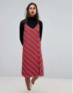 Mango Stripe Detail Cami Dress - Red