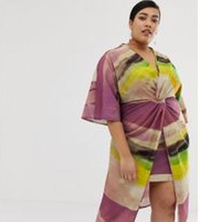 ASOS DESIGN Curve - Midiklänning i kimonomodell med knut fram och abstrakt mönster - Abstrakt mönster