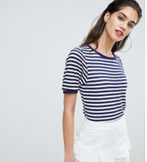 Boohoo exclusive basic stripe t-shirt with contrast collar - Navy