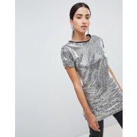 Lasula - Silverfärgad longline t-shirt med paljetter - Silver