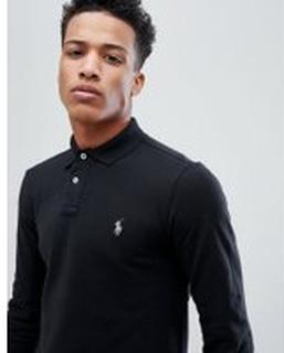 Polo Ralph Lauren Pique Polo Long Sleeve Slim Fit in Black - Polo black
