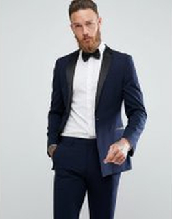 ASOS DESIGN super skinny tuxedo suit jacket in navy - Navy