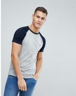 French Connection - T-shirt med raglan-ärmar - Ljusgrå melerad/marinblå