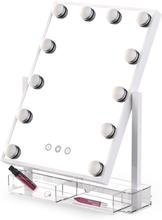 Sminkspegel Hollywood 12 LED med förvaring