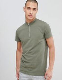 Lindbergh t-shirt in khaki pique with zip neck - Army