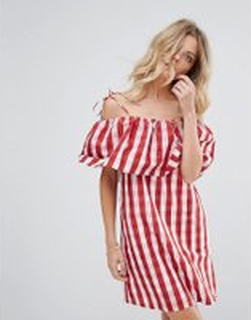 Mango Gingham Bardot Smock Dress - Red gingham