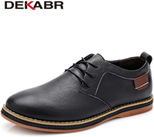 DEKABR High Quality Men Flats Casual New Genuine Leather Flat Shoes Men Oxford Fashion Lace Up Dress Shoes Work Shoe Sapatos