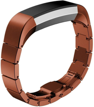 Solid Link stainless steel butterfly lock watch strap for Fitbit Alta - Coffee