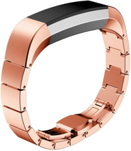 Solid Link stainless steel butterfly lock watch strap for Fitbit Alta - Rose Gold