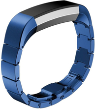 Solid Link stainless steel butterfly lock watch strap for Fitbit Alta - Blue