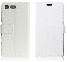 Sony Xperia Xz Premium Krokodille Lær Flip Etui - Hvit