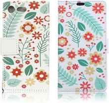 Sony Xperia Xz Premium Mønstertrykk Lær Flip Etui - Blomster Og Blader