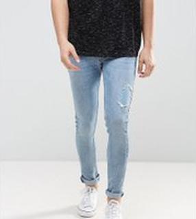 Just Junkies - Ljusa slitna jeans med extra smal passform - 854 sunshine blue