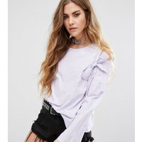 Reclaimed Vintage Inspired Bow Detailed Cold Shoulder Top In Stripe - Lilac