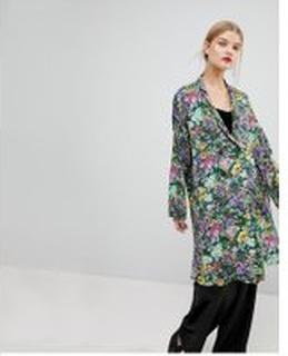 Mango Floral Print Long Line Drouser Jacket - Multi