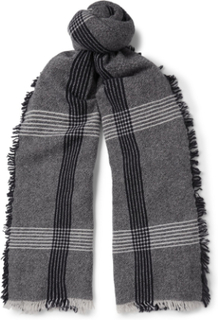 Beaufort Fringed Checked Wool And Cashmere-blend Scarf - Black