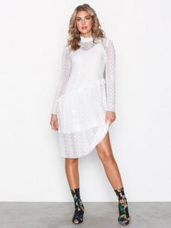 Pieces Pcfilly Ls Lace Dress Ff Loose fit Hvid