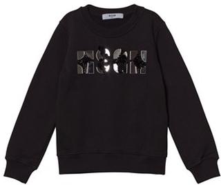 MSGM Black Mirror Bead Logo Sweatshirt 4 years