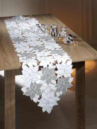 Bordløper Webschatz hvit/sølvfarget