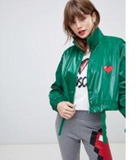 Love Moschino - Kort regnjacka med hjärtlogga - Grön