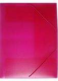 Gummibandsmapp plast 3-kl transp rosa