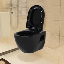 vidaXL Toalett vägghängd keramisk svart