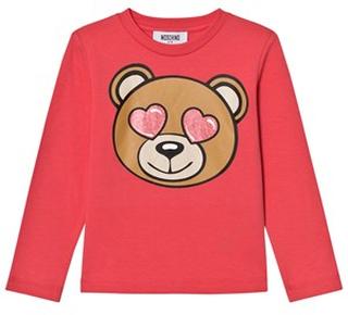 Moschino Kid-Teen Pink Heart Eye Bear Print Tee 10 years