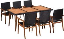vidaXL udendørs spisebordssæt 7 dele polyrattan sort og brun