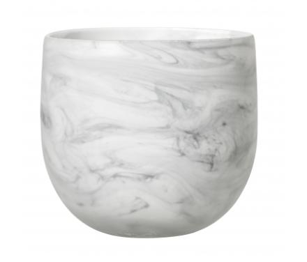 Bloomingville - Krukke i glas - Hvid/Grå - 15 cm.