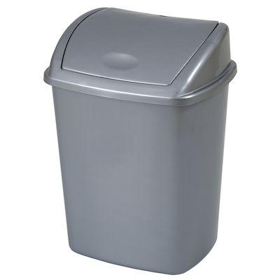 Affaldsspand, 27,2x35,2x48cm, 26 l, grå, plast, sving låg