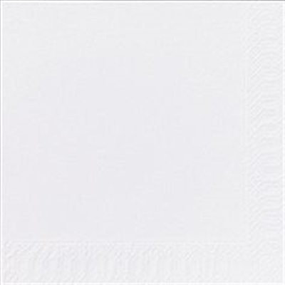 Frokostserviet, Duni, 1-lags, 1/4 fold, 33x33cm, hvid, papir
