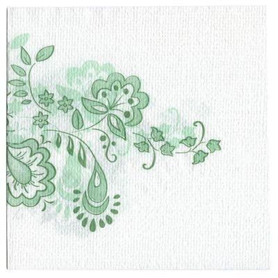 Frokostserviet, Klokkeblomst, 1-lags, 1/4 fold, 33x33cm, grøn, papir