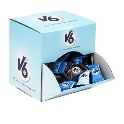 Tyggegummi, V6, assorteret, displayboks, 2-pak, 500 g *Denne vare tages ikke retur*
