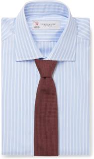 Light-blue Slim-fit Striped Cotton-poplin Shirt - Blue