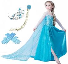 Elsa princess klänning + tiara/fläta/handskar
