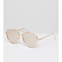ASOS Angled Aviator Sunglasses In Rose Gold With Rose Gold Mirrored Lens - Rose gold