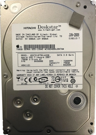 Apple Hitachi Hds721075kla330 3,5-tommers 750gb Sata harddisk Imac ...