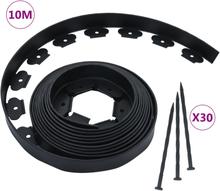 vidaXL Flexibel gräskant med 30 spett 10 m 5 cm