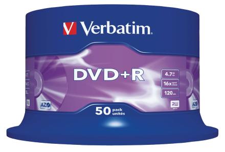 Verbatim Ð 50 X Dvd + R Ð 4,7 Gb 16 x Ð mat sølv Ð spindel