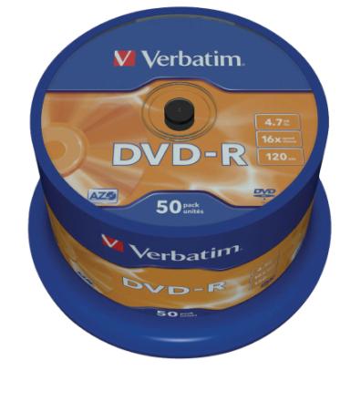 Verbatim 43548 4.7 gb 16 x Dvd-r Matt Silver - 50 Pack spindel