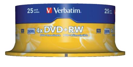 Verbatim 43489 4,7 gb 4 x Matt Silver Dvd + rw - 25 Pack spindel